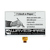 Écran d'encre Waveshare® 7,5 pouces Écran nu Écran E-paper Interface SPI Noir et blanc Résolution 800x480