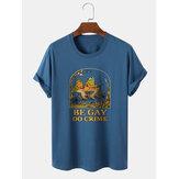 Мужские повседневные футболки с коротким рукавом из хлопка с рисунком лягушки