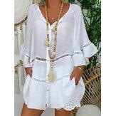 Женщины сплошной цвет полый совок Шея свободные блузки