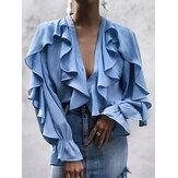 Langarm V-Ausschnitt Smocked Ruffle Stitching Button Causal Bluse für Damen
