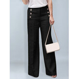 Women Cotton High Waist Pants Button Casual Wide Leg Trousers