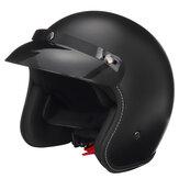 Motorradhelm Half Face mit Visier Mattschwarz M/L/XL/XXL Universal