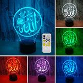 3D Colorful Noche Lámpara luz de iluminación Religioso Islam Alá Acrílico Decoraciones para el escritorio del hogar