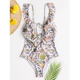 Femmes Design Floral Print String Ruffles Straps One Piece Backless Swimwear
