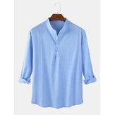 Camisa masculina de linho de algodão cor sólida casual manga longa dividida com bainha Henley