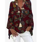 Mujer vendimia Blusas sueltas con cuello de pico y estampado floral