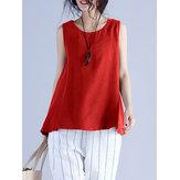 Women Sleeveless Cotton Solid Vest Tank Tops