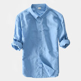 Men Solid Color Business Casual Cotton Long Sleeve Shirts