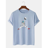 Astronaut Cartoon Print Crew Neck Short Sleeve T-Shirts