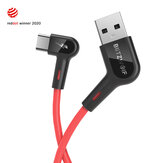 Blitzwolf® BW-AC1 3A 90 ° Right Angle USB A to Type-C Data Cable 0.9m 1.8m Reddot Award 2020 for Gaming هاتف for Samsung S20 Xiaomi HUAWEI