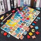 7 EN 1 Multi-Forma De Madera Colorful Rompecabezas Divertido pesca Juguete De Educación Temprana Para Niños Regalo De Cumpleaños