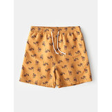 Mens Camel Cartoon Print Elastic Waist Beach Shorts