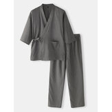 Kapas Mens Warna Solid Gaya Jepang Kimono Bathrobes Home Pajama Set