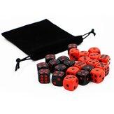 24 pcs jogo de dados gadget vermelho e preto se divertindo conjunto de dados para bar ktv karaoke partido casa jogo de mesa com armazenamento Bolsa