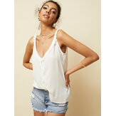 Lace Patchwork V-neck Sleeveless Button Casual Tank Tops