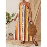 Striped Button Down Split Straps Women Casual Maxi Dress