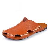 Heren handgemaakte gat sandalen Licht lederen coole slippers