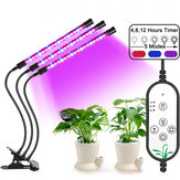 1/2/3 Head Dimmable Clip LED Bonsai Plants Grow Lamp 360° Fexible Goosenecks IP66 Waterproof 3 Timer Mode Growing Light for Greenhouse Hydroponics