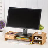 Wooden Monitor Stand Desktop Computer Riser LED LCD Monitor Laptop Notebook Support Stationery Holder File Storage Drawer Rack Drawer