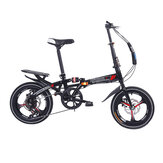 16 Inch 6-Speed Folding Bicycle Aluminum Lightweight Foldable Mini Bike Double Disc Brakes Students Adult Urban Commuter Bicycle