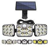 5M Wire 3 Heads LED Solar Lights Motion Sensor Outdoor Solar Wall Lamp LED Porch Light Waterproof Sunlight Powered for Garden