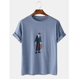 Heren Cartoon Cool Boy Print Crew Neck Casual T-shirts met korte mouwen