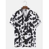 Мужская корова Шаблон Принт Revere Collar с коротким рукавом Повседневная Рубашка
