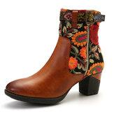 SOCOFY Bayanlar Nedensel Çiçek Desen Toka Deco Ekleme Yuvarlak Ayak Bloğu Topuk Ayak Bileği Botlar