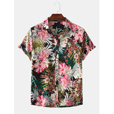 Men Floral Print Turn Down Collar Hawaii Beach Casual Short Sleeve Shirts