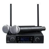 UHF 613-870MHz Sistema inalámbrico profesional de doble canal Micrófono Karaoke Amplificador con 2 dispositivos portátiles Micrófonos