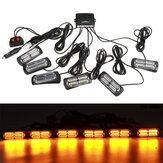 4/6PCS 12V 24V LED Amber Recover Strobe Flashing Grille Light Lightbar Boat Truck Beacon Lamp