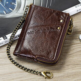 Men Genuine Leather Vintage Zipper Card Holder Chain Wallet