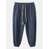 Mens Linen Solid Color Drawstring Elastic Waist Pocket Casual Pants