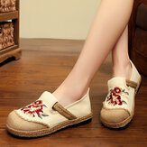 Women Old Peking Flowers Embroidery Casual Espadrille Loafers