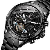 FORSINING FSG8204 Relógio automático masculino moda relógio luminoso com pulseira de aço inoxidável à prova d'água Mecânico