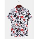 Heren abstracte bloemenprint kraagvorm Hawaii casual shirts met korte mouwen