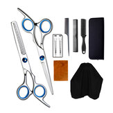 10pcs Hair Cutting Scissors Thinning Shears Comb Clips Cape Hair Trimmer