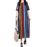 ZANZEA Kadın Gündelik Elbise Loose Maxi Elbisees Dikey Çizgili Cepler Pamuk Elbise