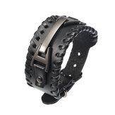 Punk Натуральная Кожа Bangle Chain Handmade Сплав сплетенный с широким регулируемым мужским браслетом