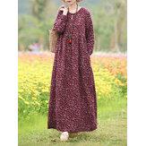 Robe maxi de vacances bohème à manches longues et imprimé floral pour femme avec poche