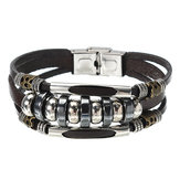 Leather Stainless Steel Men Bracelet Jewelry