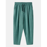 Mens Vintage Solid Color Elastic Waist  Casual Straight Pants