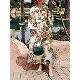 Kadın Çiçek Baskı O-Boyun 3/4 Kol Günlük Kuşaklı Maxi Elbiseler