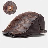 Collrown Men Kunstleder Streifenmuster Vintage Einfarbig vorwärts Hut Baskenmütze Hut