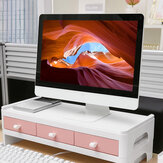 Monitor Stand Desktop Computer Riser LED LCD Monitor Support Holder File Stationery Storage Drawer Rack with 3 Drawers