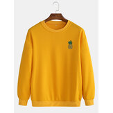 Mens Pineapple Print Long Sleeve Simple Drop Shoulder Sweatshirts