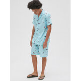 Men Revere Collar Feather Print Short Sleeve Shorts Two Piece Pajama Set Loose Sleepwear