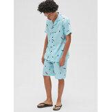 Heren Revere kraag Feather Print Short Sleeve Shorts Tweedelige pyjama set Losse nachtkleding