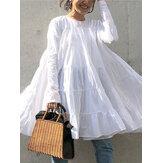 Camicetta casual sciolta pieghettata a maniche lunghe con scollo tinta unita per donna
