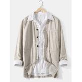 Cárdigans casuales de manga larga con botones de bolsillo con cuello en V de color sólido de lino de algodón para hombre